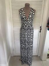 TOP SHOP BLACK AND WHITE PRINT MAXI JERSEY DRESS UK 8