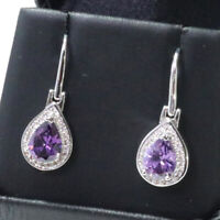 2.5 Ct Purple Pear Amethyst Earring Drop Women Wedding Jewelry 14K Gold Plated