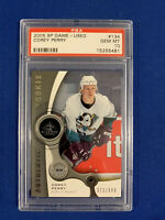 COREY PERRY PSA 10 2005-06 SP GAME USED ROOKIE CARD #/999 POP 2 !!