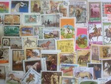 100 Different Horses on Stamps Collection