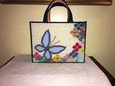 Crewel Needlepoint Tote Handmade Butterfly and Flowers Lined