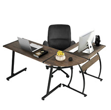 Office Desk L Shape Work Station Gaming Study Computer Laptop Walnut Black Dorm