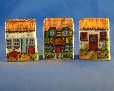 Birchcroft Thimbles -- Set of Three -- Miniature House Shape - Thatch Cottages
