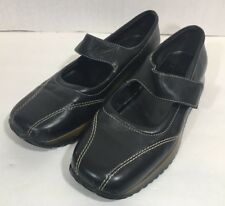 AK Anne Klein Mary Jane Black Leather Slip On Shoes 7.5 Flat Comfort Square S4