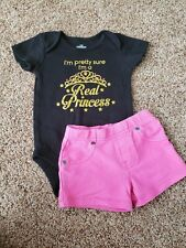 baby girl outfit size 12 months, Princess bodysuit, pink shorts, 12 month set