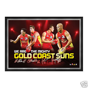AFL Gold Coast Suns 4 Player Facsimile signed Sportsprint Framed