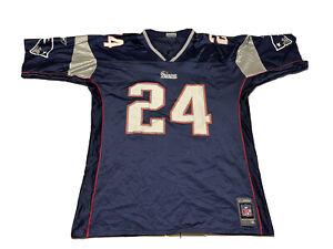 Vtg Reebok TY LAW #24 New England Patriots Jersey Mens Adult XL Blue HOF