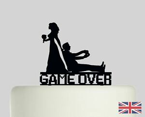 GAME OVER Funny Wedding Bride Groom Acrylic Cake Topper Decoration.843