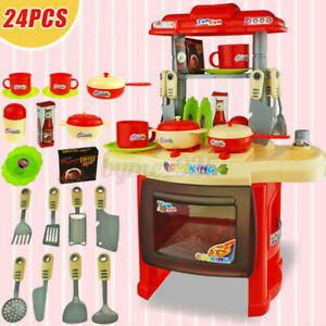 Mini Electronic Kitchen Toddler Girls Kids Role Play Cooker Cooking Toy Gift Set