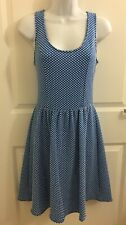Maeve Anthropologie Womens Blue White Polka Dot Fit Flare Stretch Dress Small