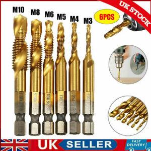 6x M3-M10 Drill Spiral Tap Bits HSS 1/4'' Hex Shank Metric Thread Cutter Set UK