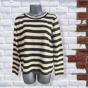 DOROTHY PERKINS -Womens UK 10 Black & Gold Striped Sparkly Long Sleeve Top