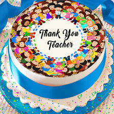 THANK YOU TEACHER PERSONALISED 7.5 INCH EDIBLE CAKE TOPPER DECORATION B-055G