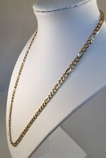 """14K Solid Yellow Gold MILOR Italian Figaro Chain Link Necklace 9.1g 4.5mm 21"""""""
