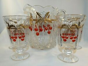 MOSSER GLASS NORTHWOOD CHERRY & CABLE WATER PITCHER W/ 4 STEMMED GOBLETS
