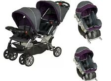 Twins Double Baby Strollers Combo Two Car Seat Baby Trend Sit And Stand Purple