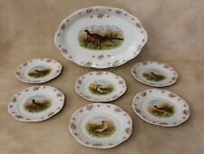 Victorian 7 pc Game Bird Serving Platter and Plates Pink Roses~ Quail Pheasant