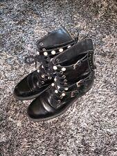 ZARA PEARL BIKER BOOTS - UK 3 - ZIP BROKEN - BLACK