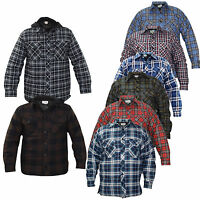 Mens Jackets Padded Quilted Lined Lumberjack Check Winter Casual Work Shirt Coat