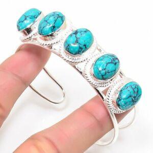 925 Sterling Silver Green Turquoise Gemstone Handmade Jewelry Bangle Sz 7-8