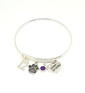 Adjustable Personalized Birthday Charm Bracelet - Perfect Present for Pet Lovers