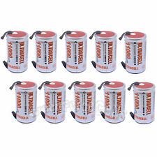 10 pcs D Size 1.2V Volt 11000mAh Ni-MH Rechargeable Battery with tab Ultracell