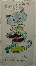Cool Cat Plays Records - 1950's Vintage RUST CRAFT Birthday Greeting Card