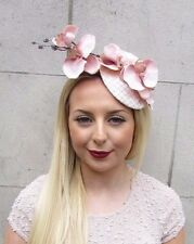 Blush Rose Light Peach Nude Orchidée Fleur Fascinator chapeau pilulier Pince à cheveux 2598