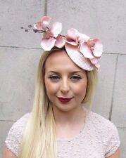 Blush Pink Light Peach Nude Orchid Flower Fascinator Hat Pillbox Hair Clip 2598