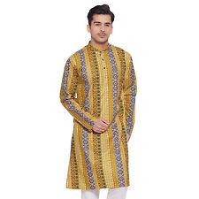 Men Full Sleeve Designer Indian Cotton Long Kurta Casual Wear Printed Kurta 2655