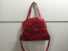 Ladies designer inspired red gorgeous 2 straps detailed fabric purse