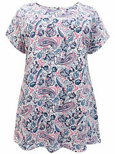Ivans WHITE Paisley Print Pure Cotton Jersey Tee Top - Plus Size 22/24 to 34/36