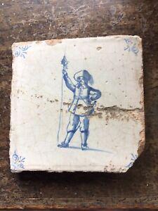 17th c Delft Infantry Officer Tile