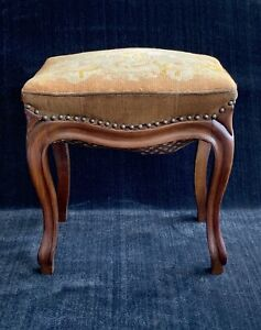 Antique French Country Needlepoint Stool ~ Piano ~ Vanity ~ Entry