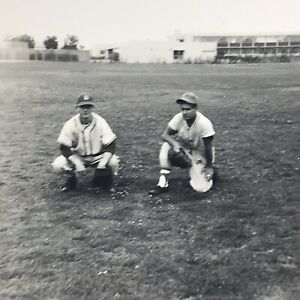 Vintage 1954 Black and White Photo Baseball Players Uniforms Kneeling Field