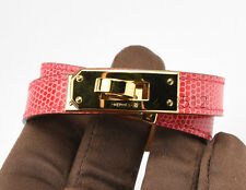 AUTHENTIC HERMES KELLY COUBLE TOUR CUFF BRACELET PINK BOUGAINVILLIER LIZARD GHW