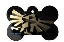 Zelda Link Triforce Dog Pet Cat ID Tag Bone Shape Engraved Personalized Key Ring