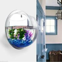 Wall Mount Fish Bowl Acrylic Aquarium Tank Beta Goldfish Hanger Plant Home Decor