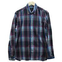 Nautica Mens Sz M Shirt Long Sleeve Button Front 100% Cotton Purple Gray Plaid