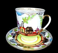 "RUSSIAN PORCELAIN FOLK ART ENAMEL PAINTED ARTIST SIGNED 3"" CUP & SAUCER 1994"