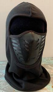 Men's One Size Balaclava Full Face Mask Air Flow Vent Black Knit Fleece Lined