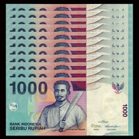 Lot 10 PCS, Indonesia 1000 Rupiah, 2009-2013, P-141, UNC 1/10 Bundle