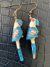 Wooden Hand-carved Parrot Earrings Handmade
