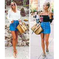 HOT Fashion Women Button Denim Skirt High Waist Slim Pencil Short Mini Skirt CI