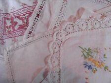 Vintage Lot of 12 Linen/Cotton Embroidered Table Placemats, Napkins plus
