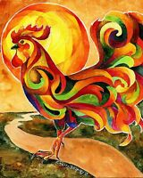 FANCY FEATHERS ROOSTER Original 8x10 Acrylic CHICKEN Painting by Sherry Shipley