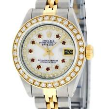 Pre-Owned Rolex Women Datejust S/S and 18K Yellow Gold MOP Diamond Bezel Ruby