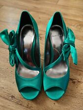 Carvela Satin Green Bow Shoes Size 4