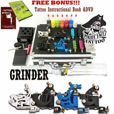 GRINDER Complete Tattoo Kit by Pirate Face 4 Tattoo Machine Guns Power Supply
