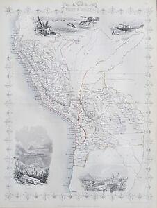 c1854 PERU & BOLIVIA Genuine Antique Map by Rapkin FREE SHIPPING WORLDWIDE